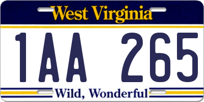 WV license plate 1AA265