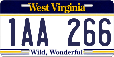 WV license plate 1AA266