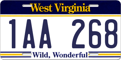 WV license plate 1AA268
