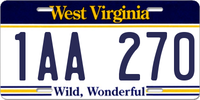 WV license plate 1AA270