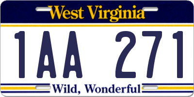 WV license plate 1AA271