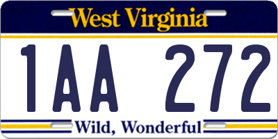 WV license plate 1AA272