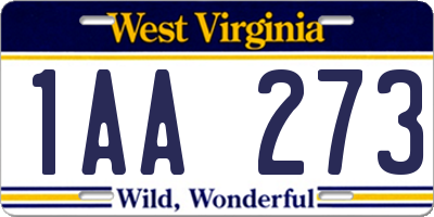 WV license plate 1AA273