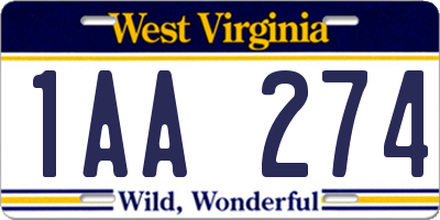 WV license plate 1AA274