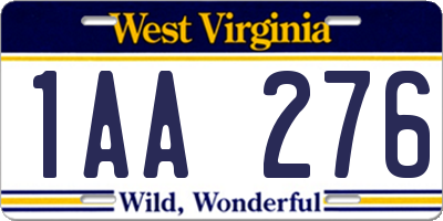 WV license plate 1AA276