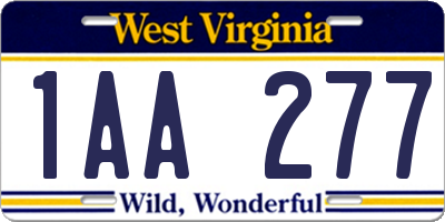 WV license plate 1AA277