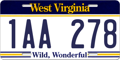 WV license plate 1AA278