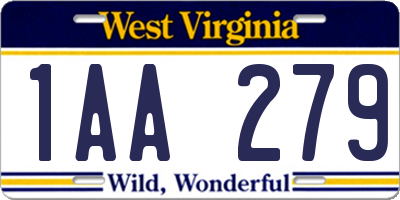 WV license plate 1AA279