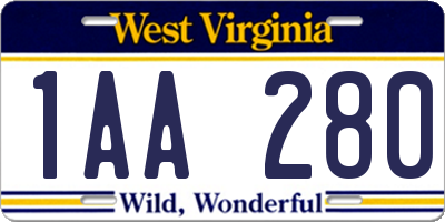 WV license plate 1AA280