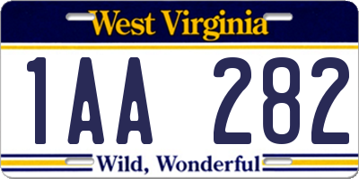 WV license plate 1AA282