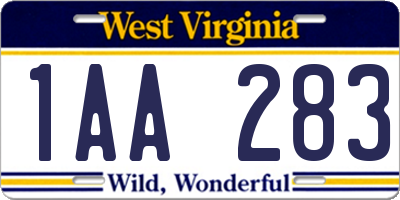WV license plate 1AA283