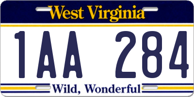 WV license plate 1AA284