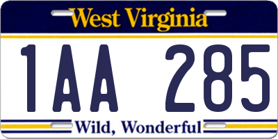 WV license plate 1AA285