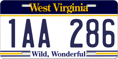 WV license plate 1AA286