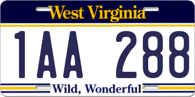 WV license plate 1AA288