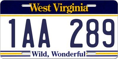 WV license plate 1AA289