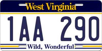 WV license plate 1AA290
