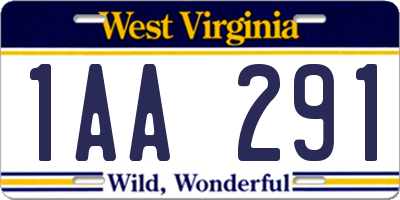 WV license plate 1AA291