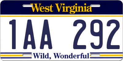 WV license plate 1AA292