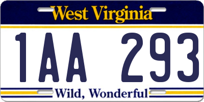 WV license plate 1AA293