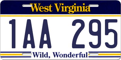 WV license plate 1AA295