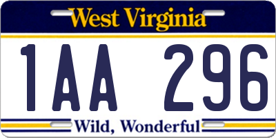 WV license plate 1AA296