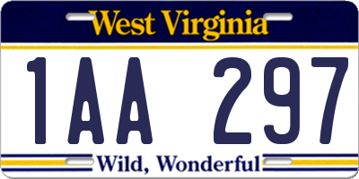 WV license plate 1AA297