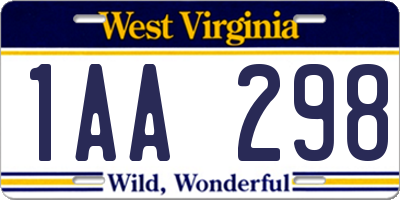 WV license plate 1AA298