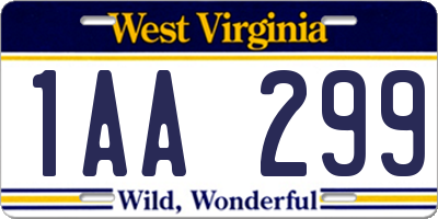 WV license plate 1AA299