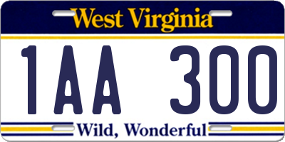 WV license plate 1AA300