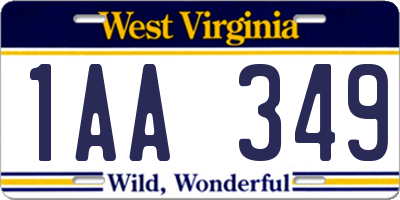 WV license plate 1AA349