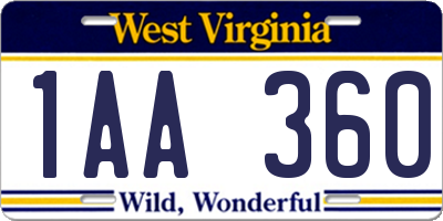 WV license plate 1AA360