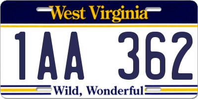 WV license plate 1AA362
