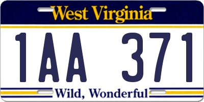 WV license plate 1AA371