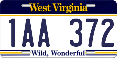 WV license plate 1AA372