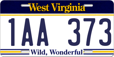 WV license plate 1AA373