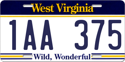 WV license plate 1AA375