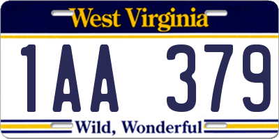 WV license plate 1AA379