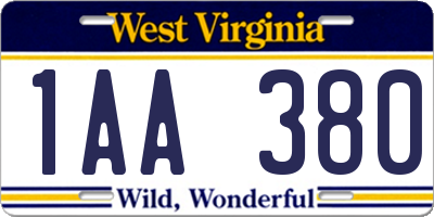 WV license plate 1AA380