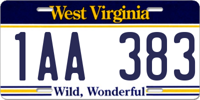 WV license plate 1AA383