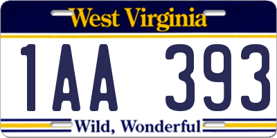 WV license plate 1AA393