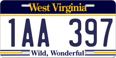 WV license plate 1AA397