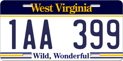 WV license plate 1AA399