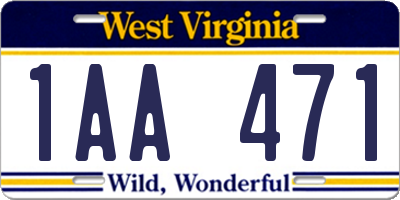 WV license plate 1AA471