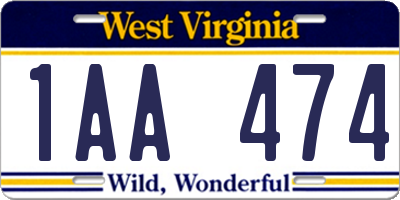 WV license plate 1AA474