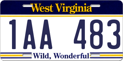 WV license plate 1AA483