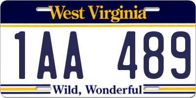WV license plate 1AA489