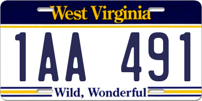WV license plate 1AA491