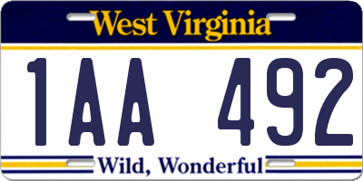 WV license plate 1AA492