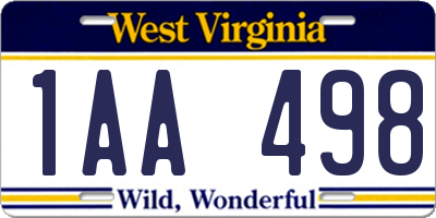 WV license plate 1AA498